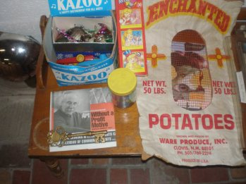 Mr. Karamanoukian, kazoos and a collage in a potato sack