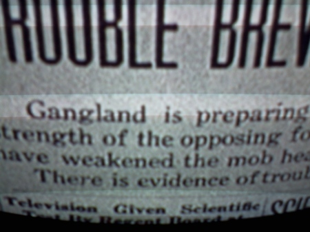 This is from a 1940 James Cagney film.  Note Television Given Scientific Test...