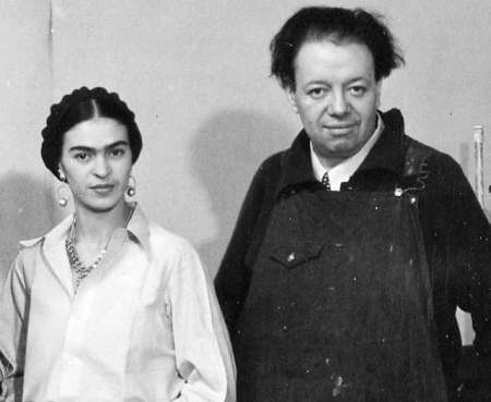 Frida Kahlo and Diego Rivera at the Detroit Institute of Arts, 1932